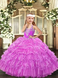Sleeveless Beading and Ruffled Layers and Pick Ups Lace Up High School Pageant Dress