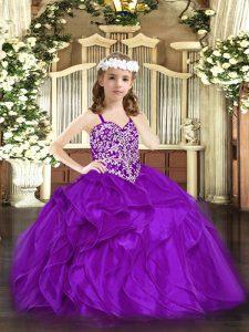 Straps Sleeveless Lace Up Glitz Pageant Dress Purple Organza