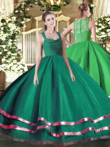 Sweet Straps Sleeveless Sweet 16 Quinceanera Dress Floor Length Ruffled Layers Turquoise Organza