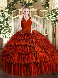 Glamorous Sleeveless Zipper Floor Length Ruffled Layers Quinceanera Gown