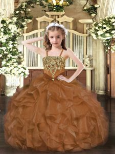 Floor Length Ball Gowns Sleeveless Brown Kids Formal Wear Lace Up