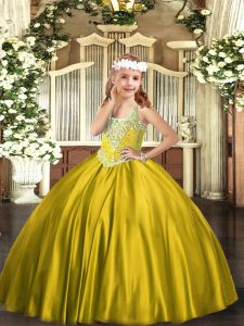Elegant Gold Satin Lace Up High School Pageant Dress Sleeveless Floor Length Beading