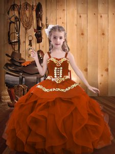 Glorious Rust Red Ball Gowns Organza Straps Sleeveless Embroidery and Ruffles Floor Length Lace Up Winning Pageant Gowns