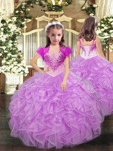 Custom Made Lilac Little Girl Pageant Gowns Party and Sweet 16 and Quinceanera and Wedding Party with Beading and Ruffles Straps Sleeveless Lace Up