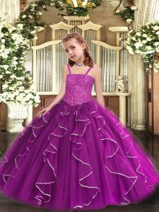 Purple Pageant Dress Womens Party and Sweet 16 and Quinceanera and Wedding Party with Beading and Ruffles Straps Sleeveless Lace Up