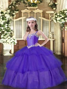 Sleeveless Organza Floor Length Lace Up Winning Pageant Gowns in Purple with Beading and Ruffled Layers