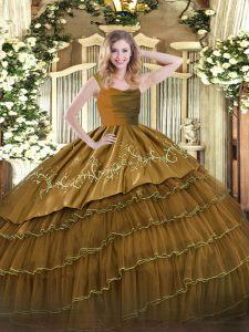 Satin and Organza Straps Sleeveless Zipper Embroidery and Ruffled Layers 15th Birthday Dress in Brown