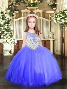 Perfect Baby Blue Zipper Scoop Beading Little Girl Pageant Dress Tulle Sleeveless