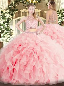 Dynamic Baby Pink Scoop Neckline Beading and Ruffles Quinceanera Gown Sleeveless Zipper