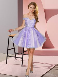 Latest Tulle Off The Shoulder Sleeveless Zipper Appliques Quinceanera Court Dresses in Lavender