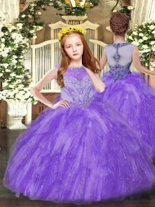 Best Lavender Sleeveless Floor Length Beading and Ruffles Zipper Pageant Dress for Girls