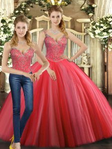 Straps Sleeveless Lace Up 15th Birthday Dress Coral Red Tulle