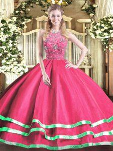 Ball Gowns Quinceanera Dress Hot Pink Halter Top Tulle Sleeveless Floor Length Zipper
