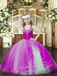 Charming Fuchsia Tulle Lace Up Little Girl Pageant Dress Sleeveless Floor Length Beading