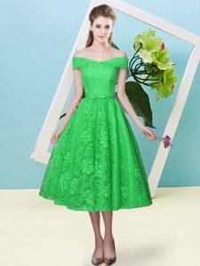 Superior Bowknot Dama Dress Green Lace Up Cap Sleeves Tea Length