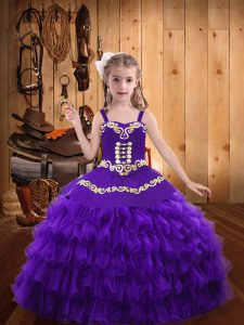 Excellent Eggplant Purple Sleeveless Organza Lace Up Little Girl Pageant Dress for Party and Sweet 16 and Quinceanera and Wedding Party