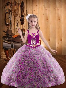 Sleeveless Floor Length Embroidery and Ruffles Lace Up High School Pageant Dress with Multi-color