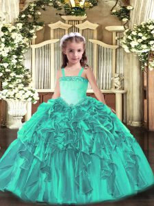 Simple Turquoise Straps Lace Up Appliques and Ruffles Pageant Dress Toddler Sleeveless