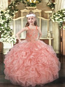 Pink Sleeveless Beading and Ruffles Floor Length Pageant Dress for Womens