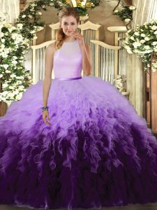 Affordable Multi-color High-neck Backless Ruffles Quinceanera Dresses Sleeveless