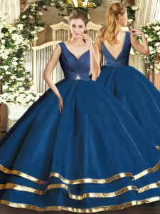 Extravagant Sleeveless Tulle Floor Length Backless Quinceanera Dresses in Navy Blue with Beading and Ruffled Layers
