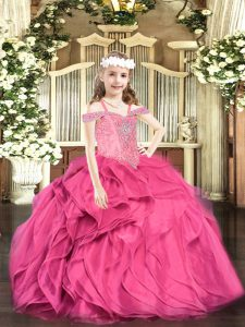 Amazing Hot Pink Pageant Dress for Teens Party and Quinceanera with Beading and Ruffles Off The Shoulder Sleeveless Lace Up