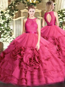 Modest Hot Pink Ball Gowns Fabric With Rolling Flowers Scoop Sleeveless Lace Floor Length Zipper 15 Quinceanera Dress