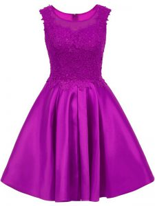 Glittering Scoop Sleeveless Quinceanera Dama Dress Mini Length Lace Eggplant Purple Satin