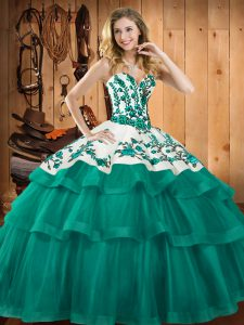 High Class Turquoise Lace Up Ball Gown Prom Dress Embroidery Sleeveless Sweep Train
