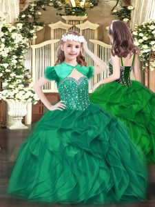 High End Sleeveless Lace Up Floor Length Beading and Ruffles Little Girls Pageant Dress