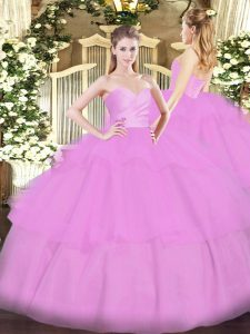 Classical Lilac Sleeveless Floor Length Beading and Ruffled Layers Lace Up Sweet 16 Dresses