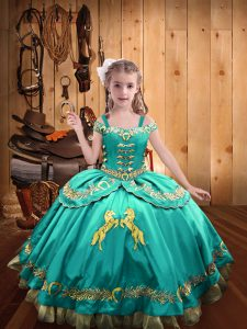 Admirable Aqua Blue Sleeveless Floor Length Beading and Embroidery Lace Up Pageant Gowns For Girls