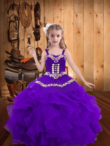 Eggplant Purple Kids Formal Wear Sweet 16 and Quinceanera and Wedding Party with Embroidery and Ruffles Straps Sleeveless Lace Up