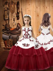 Floor Length Ball Gowns Sleeveless Burgundy Little Girls Pageant Dress Wholesale Lace Up