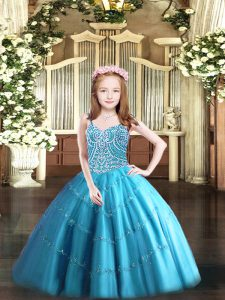 Baby Blue Sleeveless Tulle Lace Up Pageant Dress for Teens for Party and Quinceanera