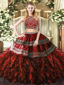 Burgundy Zipper Quinceanera Gown Beading and Ruffles Sleeveless Floor Length