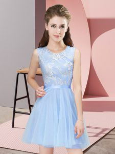Light Blue A-line Tulle Scoop Sleeveless Lace Mini Length Side Zipper Quinceanera Court of Honor Dress