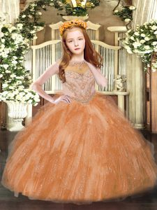 Rust Red Ball Gowns Beading and Ruffles Pageant Dress Toddler Zipper Tulle Sleeveless Floor Length