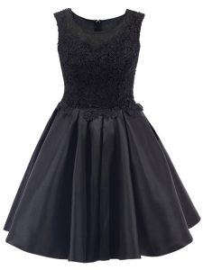 Black Satin Zipper Scoop Sleeveless Mini Length Vestidos de Damas Lace