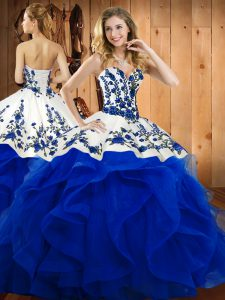 Luxury Sleeveless Embroidery and Ruffles Lace Up Sweet 16 Dresses