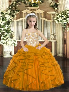Great Beading and Ruffles Little Girl Pageant Dress Orange Lace Up Sleeveless Floor Length