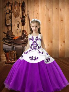 Eggplant Purple Straps Lace Up Embroidery Pageant Dress Sleeveless