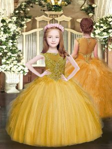 Unique Floor Length Gold Winning Pageant Gowns Tulle Sleeveless Beading and Ruffles
