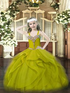 Luxurious Ball Gowns Child Pageant Dress Olive Green One Shoulder Organza Sleeveless Floor Length Lace Up