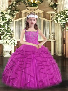 Fuchsia Lace Up Straps Beading and Ruffles Glitz Pageant Dress Tulle Sleeveless