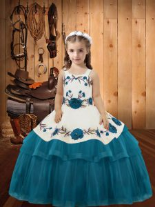 Low Price Embroidery and Ruffled Layers Pageant Dress for Teens Teal Lace Up Sleeveless Floor Length