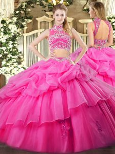 Captivating Hot Pink High-neck Backless Beading and Ruffles and Pick Ups Quinceanera Dresses Sleeveless