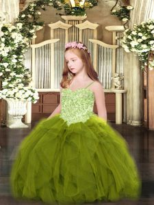 Spaghetti Straps Sleeveless Kids Pageant Dress Floor Length Appliques and Ruffles Olive Green Tulle