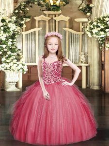 Spaghetti Straps Sleeveless Lace Up Winning Pageant Gowns Coral Red Tulle