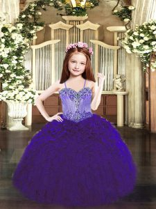 Organza Spaghetti Straps Sleeveless Lace Up Beading and Ruffles Pageant Dress Toddler in Purple